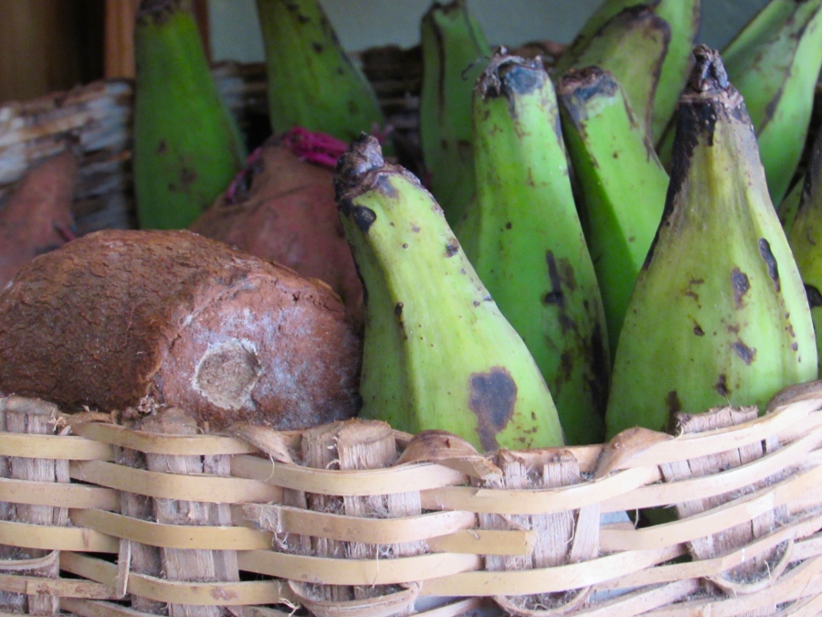 Green plantains and yam in a basket