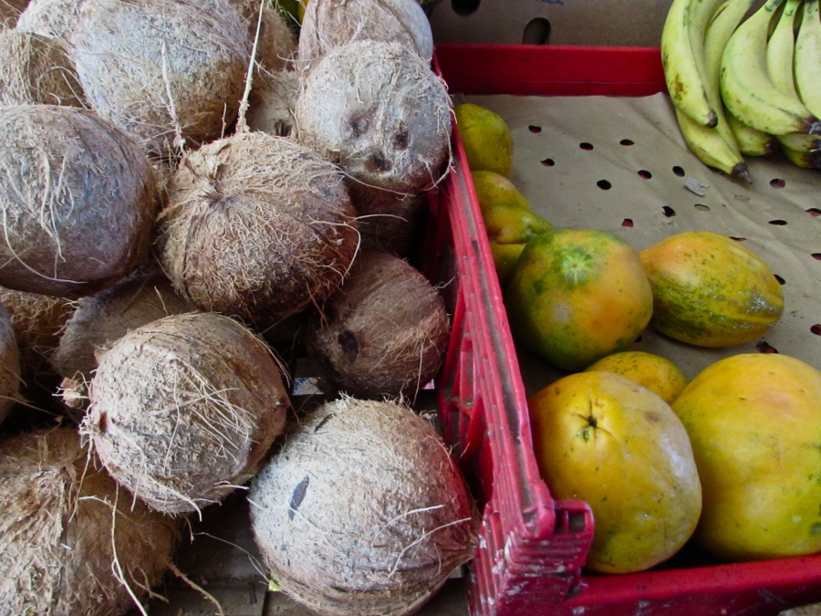 Dry coconuts and paw paw