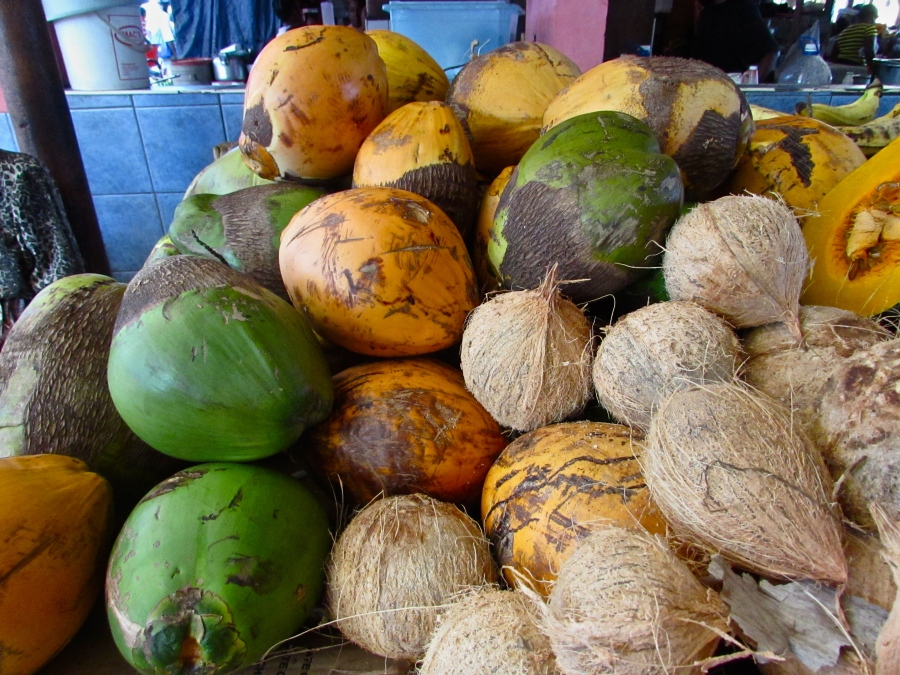 Young coconuts, jellies, and dry coconuts